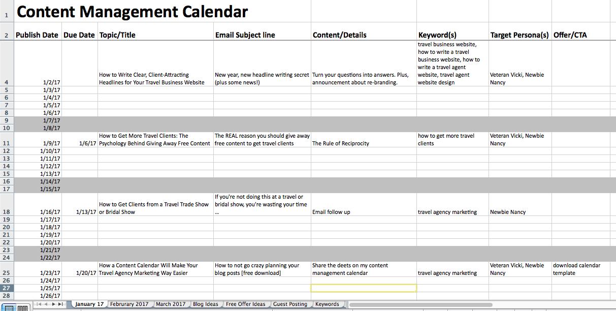 content marketing for travel agents - calendar