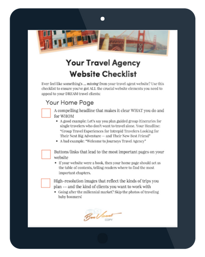 travel agent website checklist