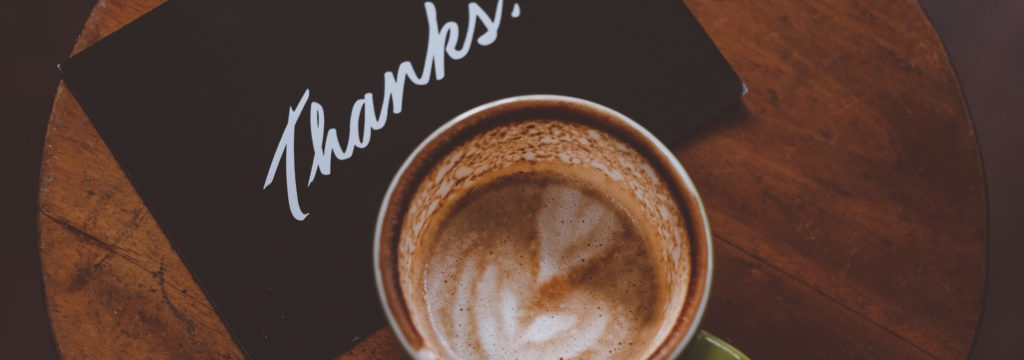 travel agent marketing idea, thank you page, coffee with thank you note